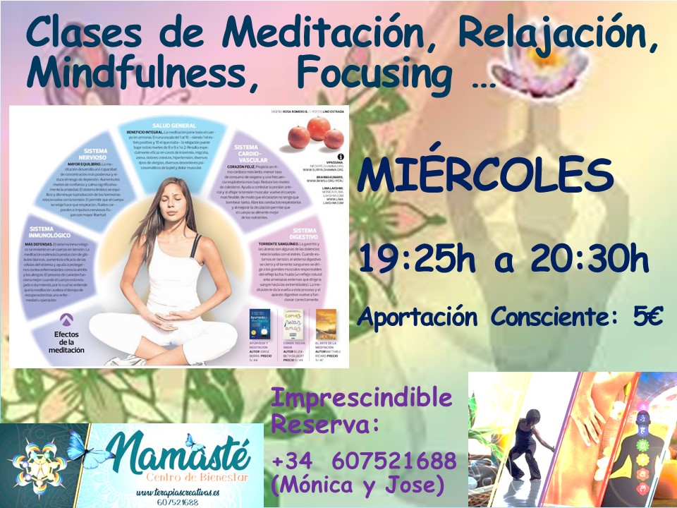 Clases de Meditación, Relajación, Mindfulness, Focusing